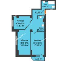 3 комнатная квартира 72,21 м², ЖК Штахановского - планировка