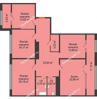 4 комнатная квартира 130,4 м², ЖК Сердце - планировка