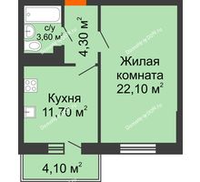 1 комнатная квартира 42,93 м² в ЖК Я, дом  Литер 2 - планировка