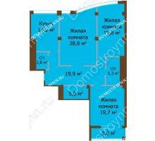 3 комнатная квартира 115,5 м², ЖК Бояр Палас - планировка