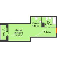 Студия 33,94 м² в ЖК Рассвет, дом № 11 - планировка