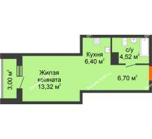 Студия 33,94 м² в ЖК Рассвет, дом № 10 - планировка