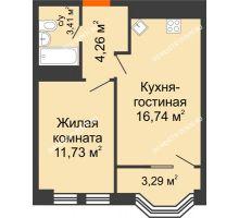 2 комнатная квартира 38,13 м², ЖК Каскад на Менделеева - планировка