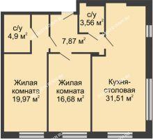 2 комнатная квартира 84,49 м² в ЖК TRINITY (Тринити), дом № 1 - планировка