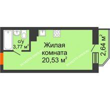Студия 25,1 м² в ЖК Академический, дом № 15 - планировка