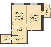 2 комнатная квартира 56,2 м² в ЖК Золотое сечение, дом №1, 2 этап - планировка