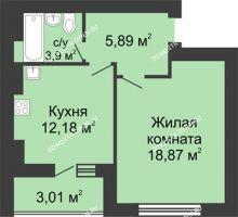 1 комнатная квартира 42,35 м² в ЖК Парк Горького, дом 62/2, №4