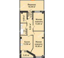 2 комнатная квартира 84,89 м² в ЖК Дом на Провиантской, дом № 12 - планировка