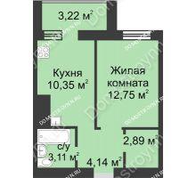 1 комнатная квартира 36,46 м² - ЖК Буревестник