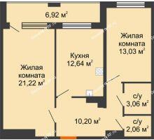 2 комнатная квартира 65,67 м² в ЖК Россия. Пять Столиц, дом 3 Этап - планировка