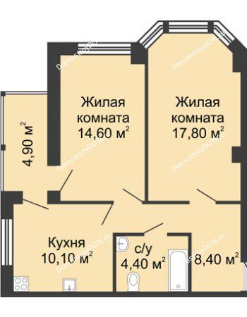 2 комнатная квартира 60,2 м² в ЖК Мега, дом № 2