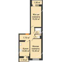 2 комнатная квартира 55,7 м² в ЖК SkyPark (Скайпарк), дом Литер 1, корпус 1, блок-секция 2-3 - планировка