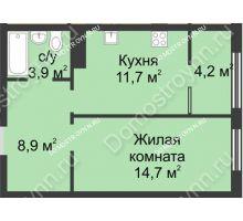 1 комнатная квартира 43,4 м² в ЖК Славянский квартал, дом № 5а, 7 - планировка