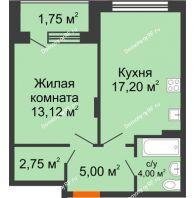 1 комнатная квартира 43,82 м² в ЖК Суворов-Сити, дом 1 очередь секция 6-13 - планировка