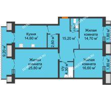 3 комнатная квартира 102,2 м², Жилой дом: г. Дзержинск, ул. Кирова, д.12 - планировка