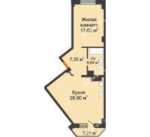 2 комнатная квартира 61,28 м², ЖК Столица - планировка