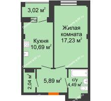 1 комнатная квартира 41,85 м² в Жилой район Берендей, дом № 14 - планировка