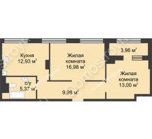 2 комнатная квартира 60,24 м² в ЖК Караваиха, дом № 5 - планировка