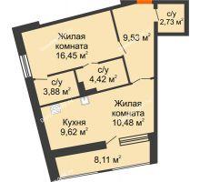 1 комнатная квартира 61,23 м², ЖК Русский Авангард - планировка