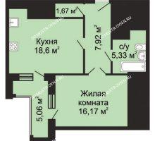 1 комнатная квартира 52,22 м², ЖК Гелиос - планировка
