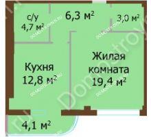 1 комнатная квартира 50,3 м², ЖК Бояр Палас - планировка