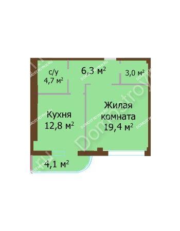 1 комнатная квартира 50,3 м² - ЖК Бояр Палас