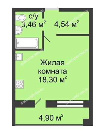 Студия 28,9 м² в ЖК Удачный, дом № 3
