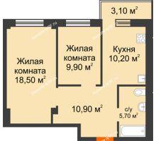 2 комнатная квартира 56,13 м² в Микрорайон Европейский, дом №9 блок-секции 1,2 - планировка