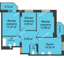 3 комнатная квартира 64,94 м² в ЖК Свобода, дом №2 - планировка