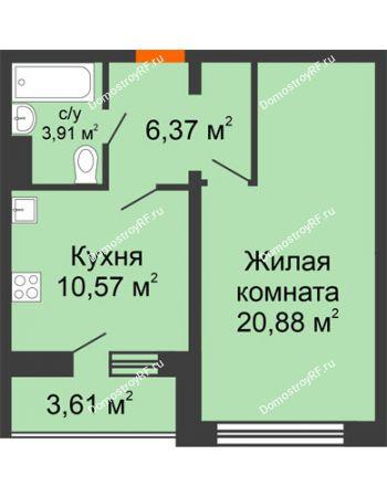 1 комнатная квартира 43,54 м² - Жилой дом: №23 в мкр. Победа