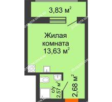 Студия 18,88 м² в ЖК Москва Град, дом 60/1 - планировка