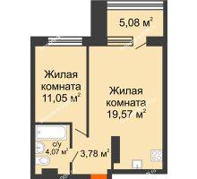 2 комнатная квартира 43,02 м² в ЖК Гвардейский 3.0, дом Секция 2 - планировка