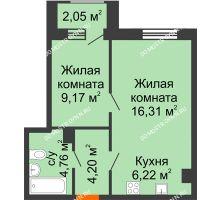 1 комнатная квартира 41,69 м² - Дом на Чаадаева