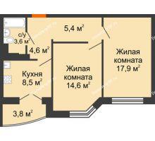 2 комнатная квартира 56,5 м², ЖД по ул.Б.Хмельницкого,25 - планировка