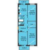 3 комнатная квартира 91,7 м² - ЖК Семейный