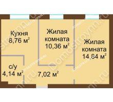 2 комнатная квартира 45,12 м² в ЖК Каменки, дом №14