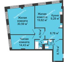 3 комнатная квартира 103,08 м², ЖК Гранд Панорама - планировка