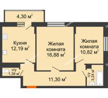 2 комнатная квартира 57,97 м² в ЖК Политехнический, дом 1,2 секция - планировка