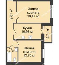 2 комнатная квартира 57,13 м², ЖК Волжский-Берег - планировка