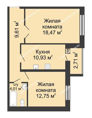 2 комнатная квартира 57,13 м² - ЖК Волжский-Берег