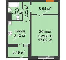 1 комнатная квартира 39,09 м² в ЖК Микрорайон Боровое, дом № 15 - планировка