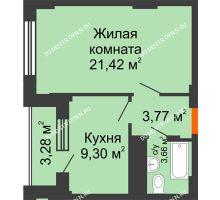 1 комнатная квартира 39,79 м², ЖД Весна - планировка