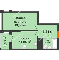 1 комнатная квартира 40,78 м² в ЖК Столичный, дом корпус А, блок-секция 1,2,3 - планировка