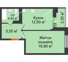 1 комнатная квартира 39,1 м² в ЖК Вересаево, дом Литер 5/1 - планировка