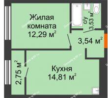 1 комнатная квартира 35,55 м² в ЖК Мозаика Парк, дом ГП-1 - планировка
