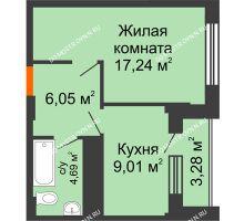 1 комнатная квартира 38,63 м², ЖД Весна - планировка