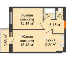 2 комнатная квартира 48,26 м² в ЖК Днепровская Роща, дом № 2 - планировка