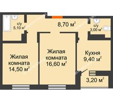 2 комнатная квартира 60,5 м² в ЖК Подкова на Цветочной, дом № 7 - планировка