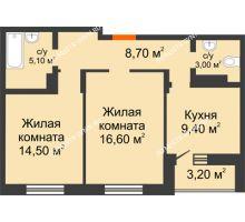 2 комнатная квартира 58,9 м² в ЖК Подкова на Цветочной, дом № 8 - планировка