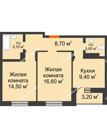 2 комнатная квартира 58,9 м² в ЖК Подкова на Цветочной, дом № 7